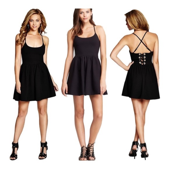 GUESS Monaco Sleeveless Fit-And-Flare Black Dress